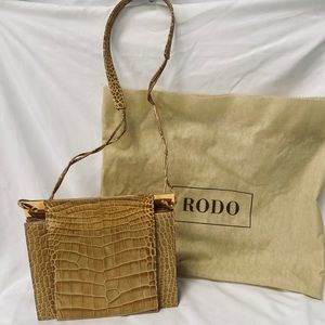 Rodo Italy Vintage Clutch with Crossbody Strap